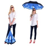 Reverse umbrella free gift umbrella windproof and moisture proof umbrella
