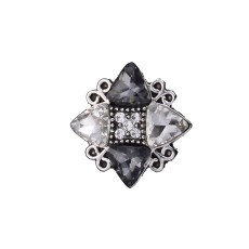 20MM Irregular design snap silver Plated and grey rhinestone