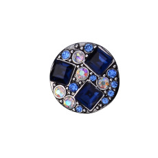 20MM round design snap silver Plated and  blue rhinestone