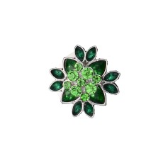 20MM flower round design snap silver Plated and green rhinestone