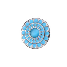 20MM flower round design snap silver Plated and blue enamel Cat's Eye gemstones