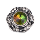 20MM  design snap silver Plated and Multicolor rhinestone