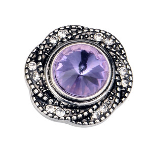 20MM  design snap silver Plated and purple rhinestone
