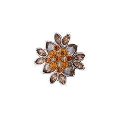 20MM flower round design snap silver Plated and orange rhinestone