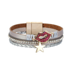 Multi layer magnetic clasp bracelet made of PU leather and star accessories