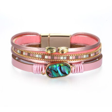 Simple girl Bracelet Bohemian style multilayer leather shell bracelet