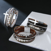 PU leather bracelet multi-layer wide cross Pearl Bracelet