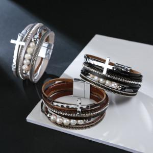 ПУ кожаный браслет многослойный широкий крест Жемчужный браслет