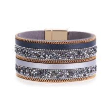 Wide edged PU leather crystal magnetic buckle bracelet