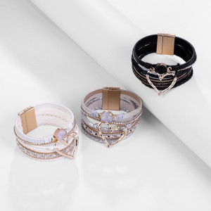 New Bangle Bohemian style multilayer leather love crystal open Bracelet Gift