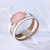 Multi layer crystal stone genuine leather bracelet hot sale in Scenic Area