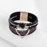 New Bangle Bohemian Stil mehrschichtige Leder Liebe Kristall offenes Armband Geschenk