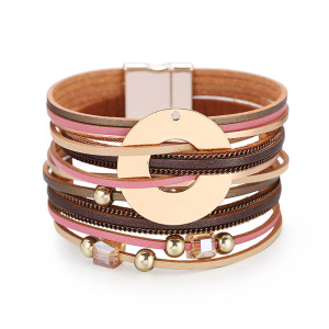 Bohemian style multi-layer wide brimmed bracelet fashion crystal leather magnetic buckle bracelet