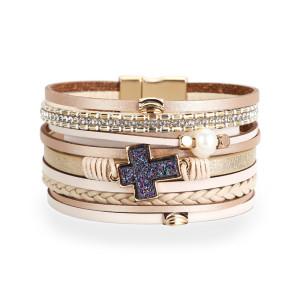 Multi layer woven leather pearl cross Beaded Bracelet