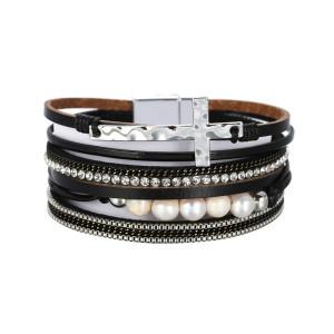 PU leather bracelet multi-layer wide cross Pearl Bracelet