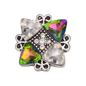 20MM Irregular design snap silver Plated and Multicolor rhinestone