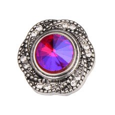 20MM  design snap silver Plated and colorful rhinestone