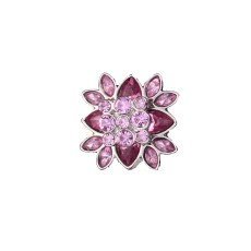 20MM flower round design snap silver Plated and pink rhinestone
