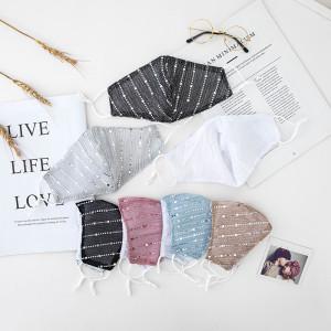 MOQ10 Personalisierte Stereo-Gesichtsmaske mit Strassstaubmaske abwaschbare Baumwollmaske dünn