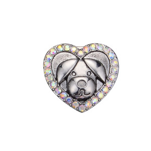 20MM dog design snap silver Plated and white rhinestone
