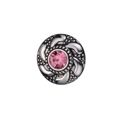 20MM round design snap silver Plated and pink rhinestone