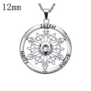 Christmas snowflakes snap sliver Pendant fit 12MM snaps style jewelry