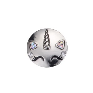 20MM unicorn design snap silver Plated and white rhinestone