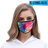 Delivery within 7 days Tie dye face mask dustproof fashionable printed ice silk fabric washable