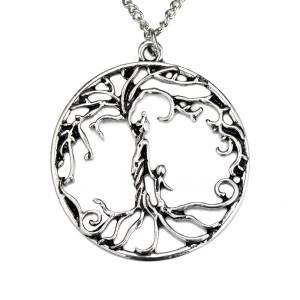 Family tree Life tree alloy necklace mother and 1 child