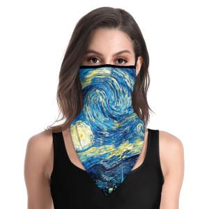 Oreille imprimée suspendu cou masque facial cache-cou pour hommes et femmes équitation, serviette triangle de protection solaire extérieure pour l'alpinisme