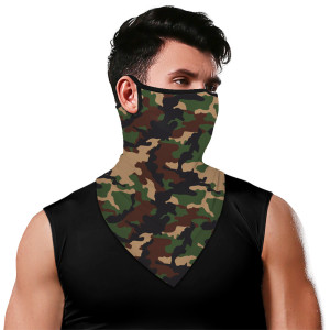 Printed ear hanging neck face mask Neck gaiter for men and women riding, outdoor sun protection triangle towel for mountaineering