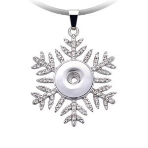 Collar de copos de nieve de Navidad 52cm cadena de línea negra en forma de trozos de 20MM broches de joyería