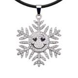 Weihnachtsschneeflocken Halskette 52cm schwarz Linie Kette passen 20MM Brocken schnappt Schmuck