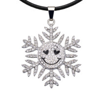 Christmas snowflakes  Necklace  52cm black  Line chain fit 20MM chunks snaps jewelry