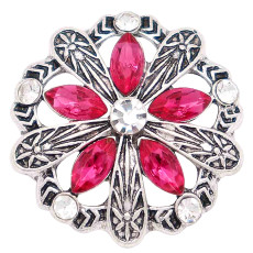 20MM design snap silver Plated with  rose rhinestone KC6848 snaps jewelry