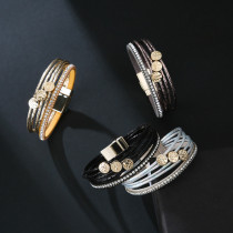 新しいPUレザーマルチスティックダイヤモンドブレスレットライフツリーボヘミアンファッションの女の子のブレスレット