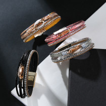 PU leather bracelet with five layers of diamond and conch decoration