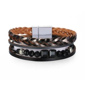 Bohemian National Style Bracelet multi layer leather woven Handmade Beaded Crystal Bracelet