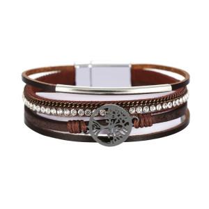 Multi layer leather buckle bracelet with diamond Life Tree