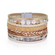 Leather Bracelet multi layer wide brimmed handmade pearl bracelet