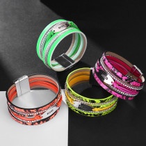Pu Bracelet Bohemian multi-layer fluorescent Leather Bracelet Fashion magnetic buckle bracelet