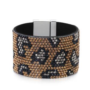 Pulsera de ala ancha con estampado de leopardo de diamantes Pulsera vestido con botones cruzados Pulsera