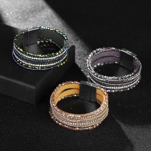 Pulsera de cristal de múltiples capas con diamantes de imitación y pulsera hecha a mano con cuentas