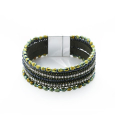 Multi layer crystal bracelet with rhinestone and Handmade Beaded Bracelet