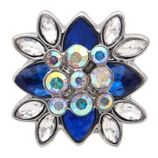 20MM flower round design snap silver Plated and blue rhinestone
