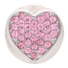 20MM loveheart design snap plateado y diamantes de imitación rosa