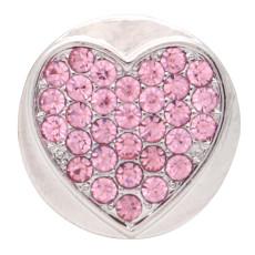 20MM loveheart design snap argent Plaqué et strass rose