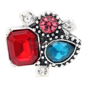 20MM design snap silver Plated and colourful rhinestone