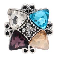 20 mm Diseño irregular chapado en plata y diamantes de imitación multicolor