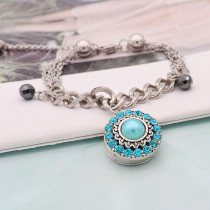 20MM round design snap silver Plated and blue pearl